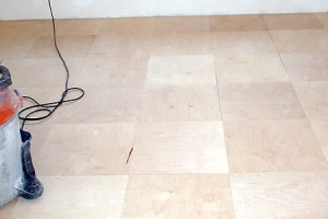 Plywood floor tiles